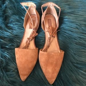 Tan suede lace up flats